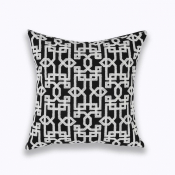 Couch Pillow, Cotton, Unique, embroidered with modern and beautiful design | Navy White