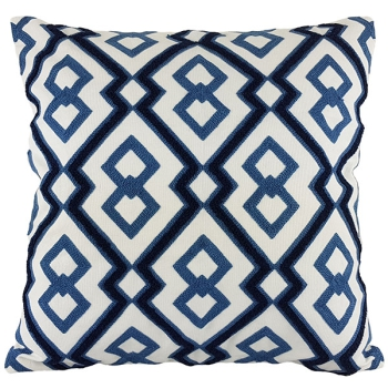 Couch Pillow, Cotton, Unique, embroidered with modern and beautiful design - Navy Blue_White Geometric