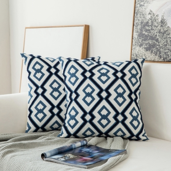 Couch Pillow, Cotton, Unique, embroidered with modern and beautiful design | Navy Blue / White Geometric