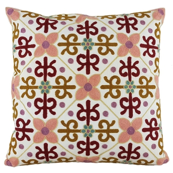 Cotton throw pillow is unique, embroidered with modern and beautiful design - Orient flowers
