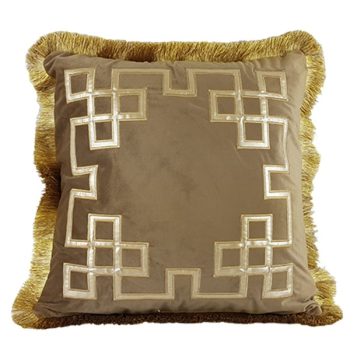 Luxury decorative pillows with embroidered patterns | Geometrix design brown