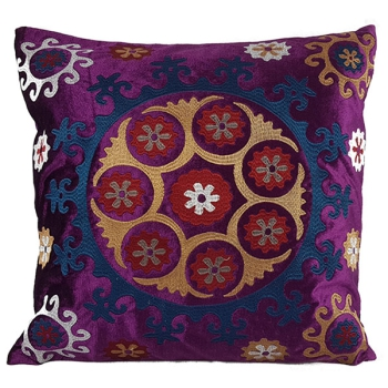 Beautiful decorative Pillows with embroidered Eethnic design - Retro Purple
