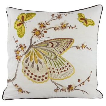 Luxury couch Pillow, Cotton, Unique, embroidered with modern and beautiful design - Noble butterfly