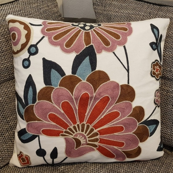 Couch pillow cotton, unique, embroidered, modern, beautiful design | Inca lilies