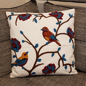 Cotton throw pillow is unique, embroidered with modern and beautiful design | Spring bird