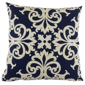 Pillow cover with filling home decor Emboridered - Blue Queen