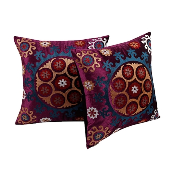 Beautiful decorative Pillows with embroidered Eethnic design » Retro Purple«