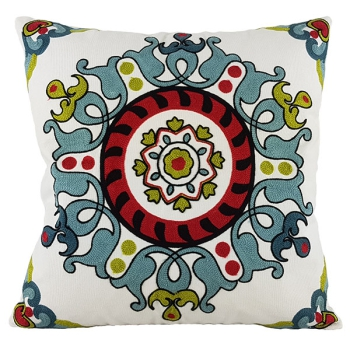 Couch Pillow, Cotton, Unique, embroidered with modern and beautiful design - Allium