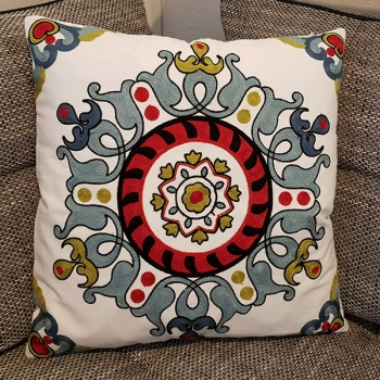 Couch Pillow, Cotton, Unique, embroidered with modern and beautiful design | Allium