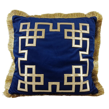 Luxury decorative pillows with embroidered patterns - Geometrix design blue
