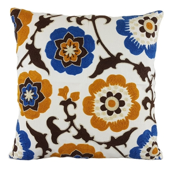 Cotton throw pillow is unique, embroidered with modern and beautiful design - South seas flower