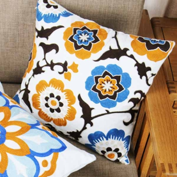 Cotton throw pillow is unique, embroidered with modern and beautiful design | South seas flower